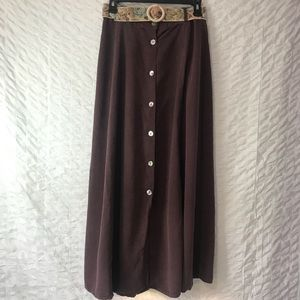 Long purple button down skirt